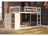 Ewart Mission Twin over Twin Bunk Bed with Chest and Storage Harriet Bee Fabric Color: White