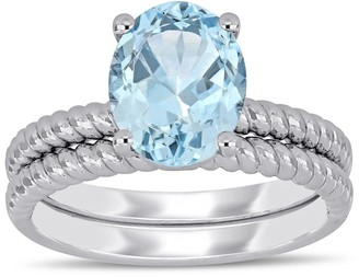 Miadora 14k White Gold Aquamarine Solitaire Twisted Bridal Ring set