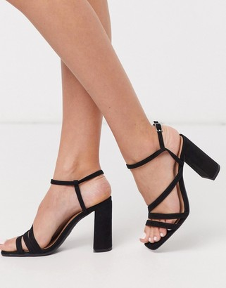 New Look multi strap square toe block heeled sandals in black