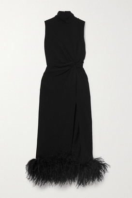 16Arlington Maika Feather-trimmed Knotted Crepe Midi Dress - Black