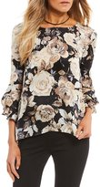 I.N. San Francisco Bell Sleeve Rose-Print Blouse