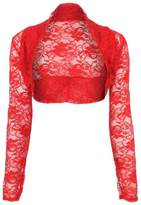 Crazy Girls Womens Long Sleeve Floral Lace Crochet Bolero Shrug Cardigan Crop Top