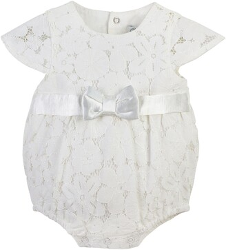 Carriage Boutique Lace Christening Bubble Bodysuit with Satin Bow