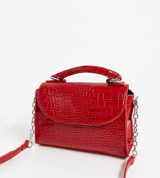 My Accessories London Exclusive mock croc crossbody mini bag in red patent