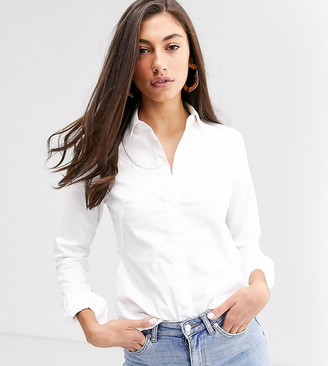Asos DESIGN Tall long sleeve fitted shirt in stretch cotton in white