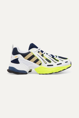 adidas Eqt Gazelle Rubber-trimmed Leather And Mesh Sneakers - Navy