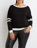 Charlotte Russe Plus Size Varsity Stripe Ringer Sweatshirt