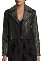 Alice + Olivia Cody Studded Leather Moto Jacket