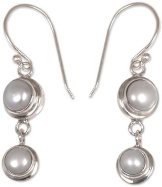 Novica Artisan Crafted Sterling Pearl Dangle Earrings