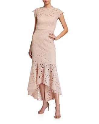 Shoshanna Mina Lattice Floral Lace High-Low Dress