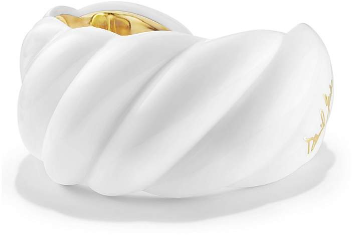 David Yurman White Resin Sculpted Cable Cuff Bracelet with 18K Gold Vermeil