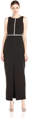 London Times Women's Sleeveless Jewel Bodice Maxi Dress