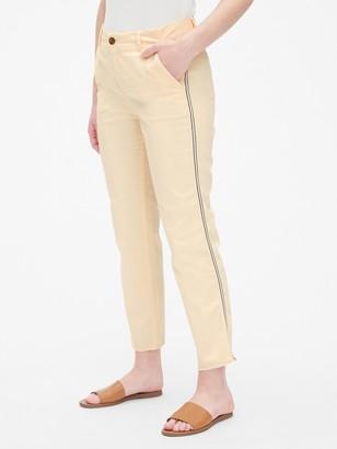 Gap Girlfriend Twill Stripe Khakis with Raw Hem