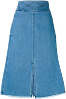 See by Chloe denim A-line midi skirt