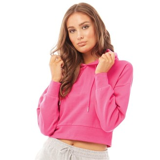 Fluid Womens Cotton/Recycled Polyester Cropped Hoodie Magenta