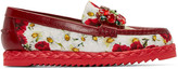 Dolce & Gabbana Red & White Embellished Poppies Loafers