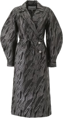 Ganni Jacquard Collared Midi Dress