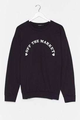 Nasty Gal Womens Off the Market Graphic Sweatshirt - Black - S