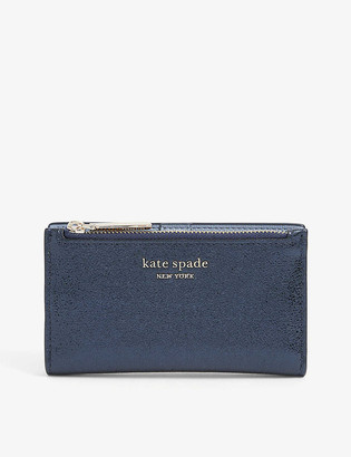 Kate Spade Womens Metallic Night Sparkle Logo-embossed Metallic Leather Wallet