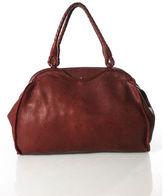 Bottega Veneta Dark Red Leather Woven Double Strap Satchel Handbag RHB16