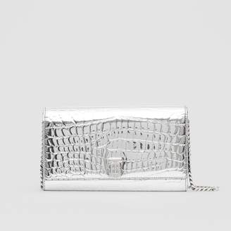 Burberry Metallic Embossed Wallet with Detachable Strap