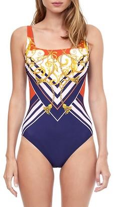 Gottex Swim Gala Printed Squareneck One-Piece Swimsuit