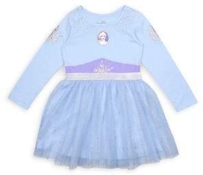 Nannette Little Girl's Frozen 2 Elsa Glitter Cotton-Blend Tulle Dress