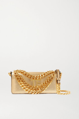 Tom Ford Triple Chain Small Embellished Metallic Leather Shoulder Bag - Gold
