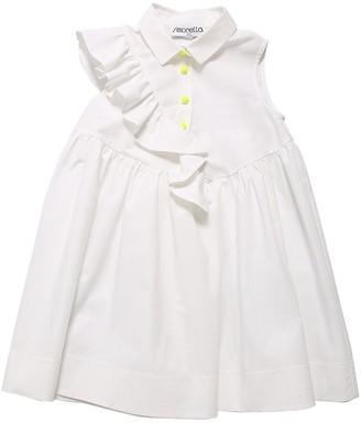 Simonetta Cotton Poplin Dress W/ Ruffles