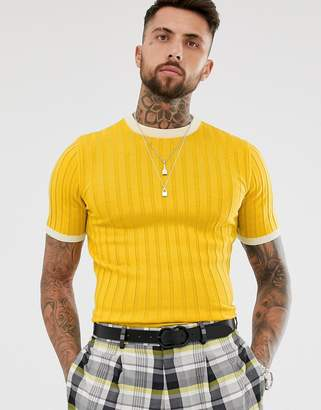 Asos Design DESIGN knitted muscle fit ribbed t-shirt in mustard-Yellow