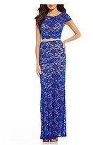 B. Darlin Illusion-Waist Glitter Lace Long Dress