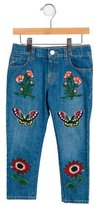 Gucci Girls' Embroidered Straight-Leg Jeans