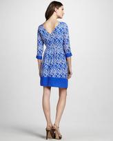 Shoshanna Three-Quarter Sleeve Printed Dress