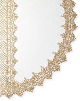 "Sferra Antique Lace 90"" Round Tablecloth & 12 Napkins"