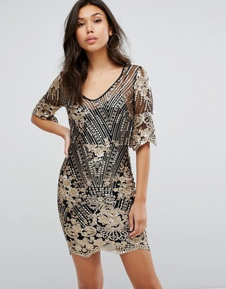 TFNC Sequin Midi Dress With Scalloped Hem And Sleeve