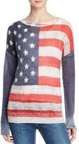 Aqua Cashmere American Flag Cashmere Sweater