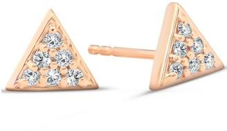 Pompeii3 14k Rose Gold .12 Ct TDW Diamond Triangle Studs Womens Spike Pave Earrings Dainty 7.5mm