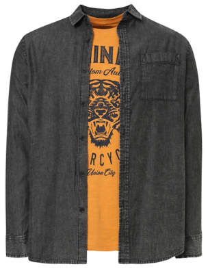 George Grey Acid Wash Shirt and Yellow Motorcycle T-Shirt Set