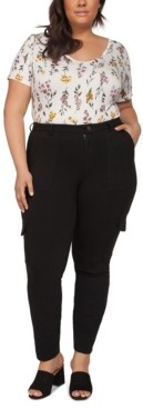 Black Tape Plus Size Skinny Knit Cargo Pants With Front Seam