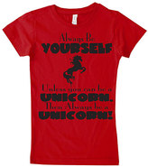 Micro Me Red 'Always Be a Unicorn' Fitted Tee - Infant Toddler & Girls