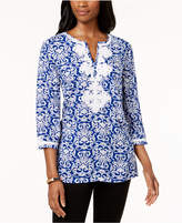 Charter Club Printed Applique Tunic, Created for Macy's