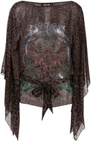Roberto Cavalli printed sheer blouse with tie waist