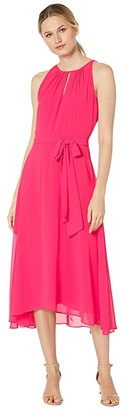 Tahari ASL Sleeveless Chiffon Keyhole Midi (Raspberry) Women's Dress