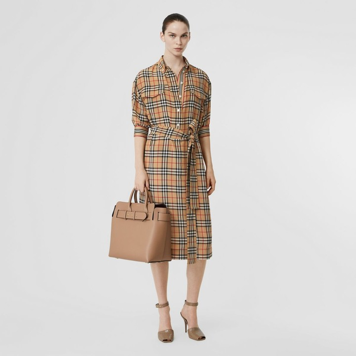 Burberry Vintage Check Silk Tie-Waist Shirt Dress