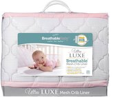 BreathableBaby Ultra Luxe Mesh Crib Liner, White/Pink by