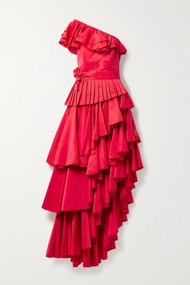 ARTCLUB Net Sustain Casa Mollino Convertible Asymmetric Ruffled Faille Dress - Red