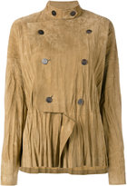 Loewe military style draped jacket - women - Leather - 36
