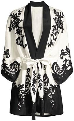 Natori Kumiko Embroidered Silk Wrap