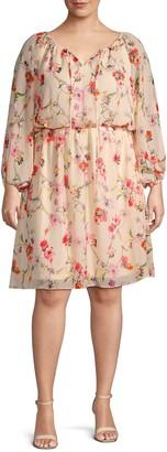 Adrianna Papell Plus Floral Long-Sleeve Blouson Dress