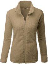 Doublju Womens Easy to Wear Lightweight 3/4 Sleeve Fleece Outwear CORAL,L
